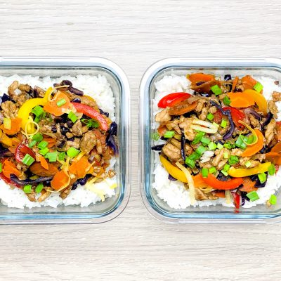 Mielony indyk z warzywami i ryżem